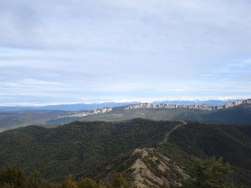 La sierra de Santo Domingo, al fondo los Pirineos